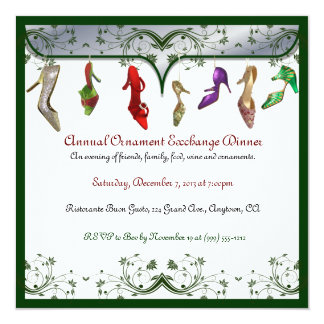 Christmas Ornament Exchange Dinner Invitations