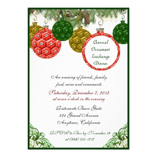 "Christmas Ornament Exchange Dinner Invitations 5"" X 7"