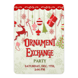 Christmas Ornament Exchange Party Invitation at Zazzle