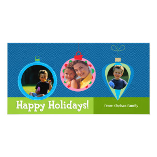 Christmas Ornament Family Greeting Photo Card Template