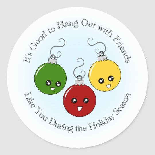 Christmas Ornament Friends Classic Round Sticker