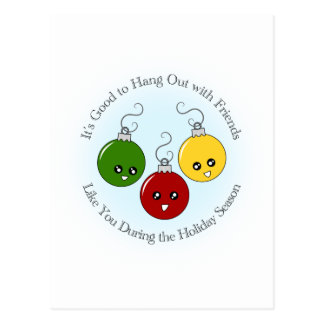 Christmas Ornament Friends Postcard