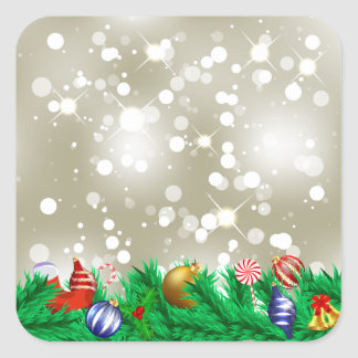 Christmas Ornament Glitter Square Sticker