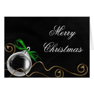 Christmas Ornament Green Bow Card