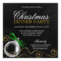 Christmas Ornament Green Bow Dinner Party Invitation