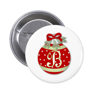 CHRISTMAS ORNAMENT INITIAL B 2 INCH ROUND BUTTON