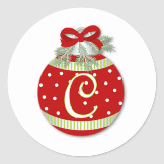 CHRISTMAS ORNAMENT INITIAL C CLASSIC ROUND STICKER