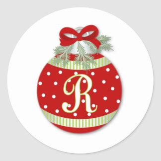 CHRISTMAS ORNAMENT INITIAL R CLASSIC ROUND STICKER
