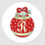 CHRISTMAS ORNAMENT INITIAL R ROUND STICKERS