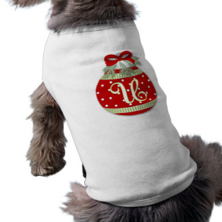 CHRISTMAS ORNAMENT INITIAL U PET T-SHIRT