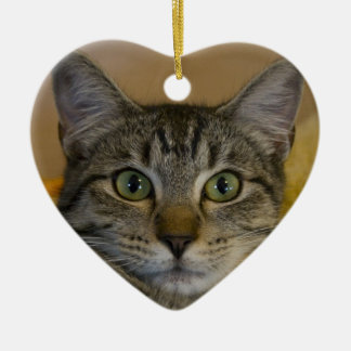 Christmas Ornament: Kitty's 1st Xmas Double-Sided Heart Ceramic Christmas Ornament