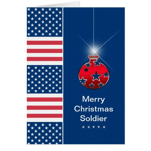 Christmas ornament military soldier usa greeting card