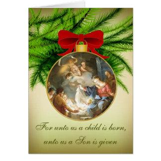 Christmas Ornament Nativity Jesus Birth Greeting Card