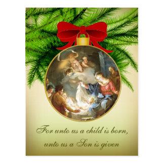 Christmas Ornament Nativity Jesus Birth Postcard