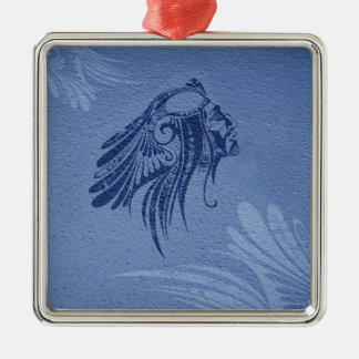 Christmas Ornament Navy Silhouette Indian Chief
