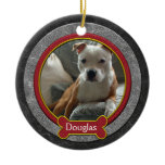 Christmas Ornament Pet Photo Leather Red Gold