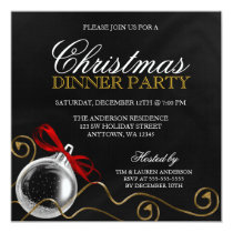 Christmas Ornament Red Bow Dinner Party Card