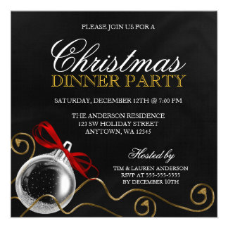 Christmas Ornament Red Bow Dinner Party Personalized Announcements