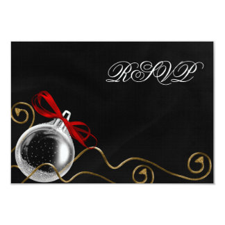 Christmas Ornament Red Bow RSVP 3.5x5 Paper Invitation Card