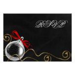 Christmas Ornament Red Bow RSVP Custom Invitation