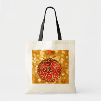 Christmas Ornament Red with Gold Twinkle Lights Tote Bags