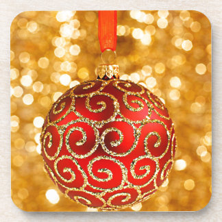 Christmas Ornament Red with Gold Twinkle Lights Coaster