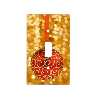 Christmas Ornament Red with Gold Twinkle Lights Light Switch Cover