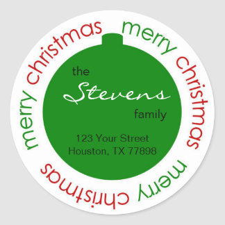 Christmas ornament return address label sticker
