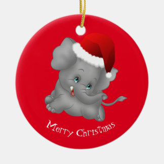 Christmas Ornament-Santa Elephant Ceramic Ornament