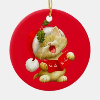 Christmas Ornament-Santa Kitty Ceramic Ornament