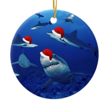 Christmas Themed Christmas Ornament-Santa Sharks Ceramic Ornament