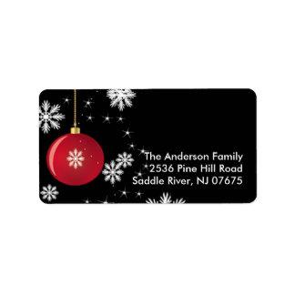 Christmas Ornament Snowflakes Address Label