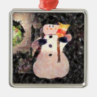 Christmas Ornament, Snowman Metal Ornament