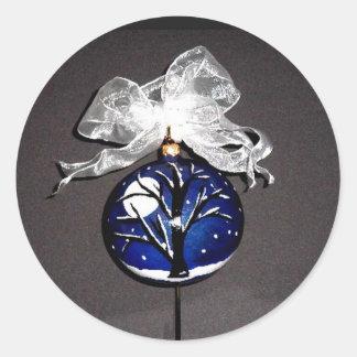 Christmas Ornament Sticker~Linda Powell Fine Art Classic Round Sticker