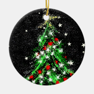 Christmas Ornament (Tree) Ceramic Circle by KRA