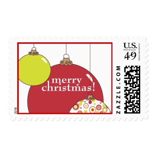 Christmas Ornament Trio in Red and Green Postage
