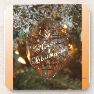 Christmas Ornament w Merry Christmas Text Coaster
