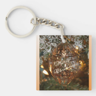 Christmas Ornament w Merry Christmas Text Keychain