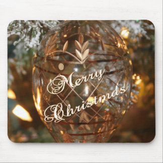 Christmas Ornament w Merry Christmas Text Mouse Pad