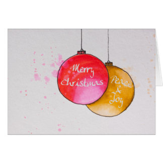 Christmas Ornament Watercolor Greeting Card