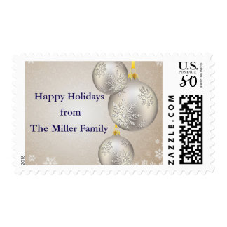 Christmas Ornament with Silver and Gold Postage