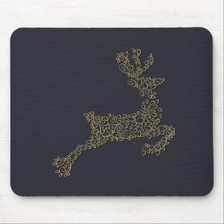 Christmas ornamental line golden deer mouse pad