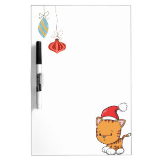 Christmas Ornaments and Orange Kitten Dry-Erase Board