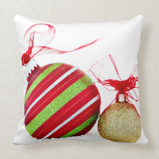 Christmas Ornaments Balls Contemporary Throw Pillow Zazzle