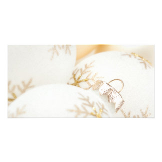 Christmas Ornaments Fancy Gold White Glitter Photo Cards