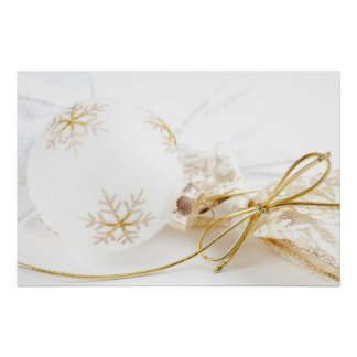 Christmas Ornaments Fancy Gold White Glitter Poster