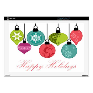 """Christmas Ornaments Happy Holidays Skins For 17"""" Laptops"""