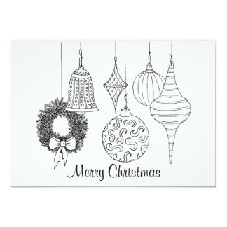 Christmas Ornaments Holiday Card to Color