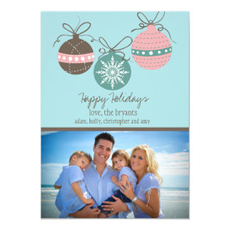 Christmas Ornaments Holiday Flat Card-blue 5x7 Paper Invitation Card