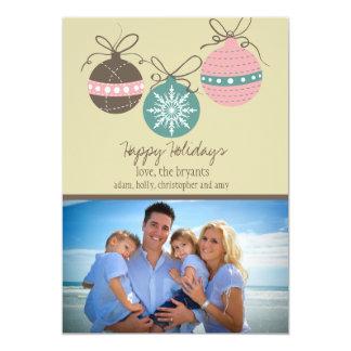 Christmas Ornaments Holiday Flat Card-tan 5x7 Paper Invitation Card